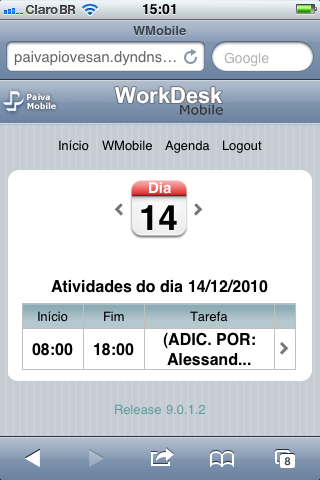 WorkDesk Mobile - Tela Agenda